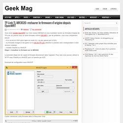 TP-Link TL-MR3020: restaurer le firmware d'origine depuis OpenWRT