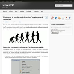 Restaurer la version précédente d'un document Windows