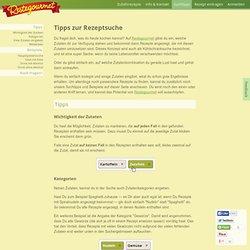 Suchtipps — Restegourmet - Rezeptsuche nach Zutaten