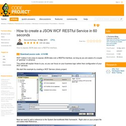How to create a JSON WCF RESTful Service in 60 seconds
