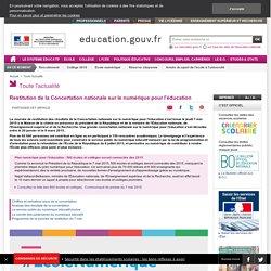 Restitution de la Concertation nationale sur le numérique pour l'éducation