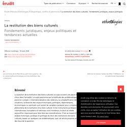 La restitution des biens culturels: fondements j… – Ethnologies