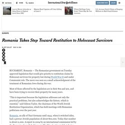 Romania Takes Step Toward Restitution to Holocaust Survivors