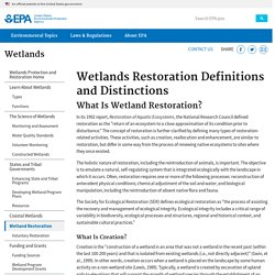 Wetlands Restoration Definitions and Distinctions