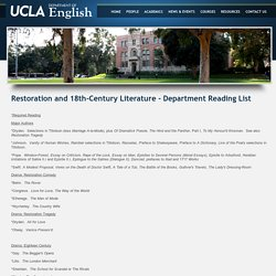 Restoration and 18th-Century Literature - Department Reading List