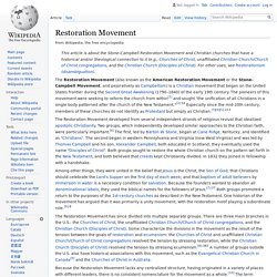 Restoration Movement - Wikipedia
