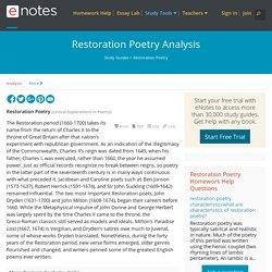 Restoration Poetry Analysis