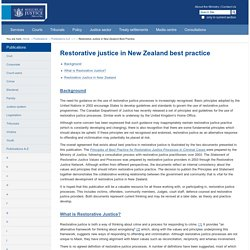 Restorative justice in New Zealand best practice — Ministry of Justice, New Zealand