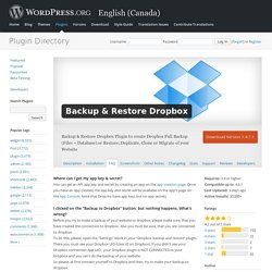 Backup & Restore Dropbox — WordPress Plugins