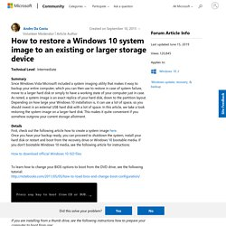 How to restore a Windows 10 system image to an existing or larger