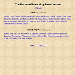 The Restored Name Version of King James