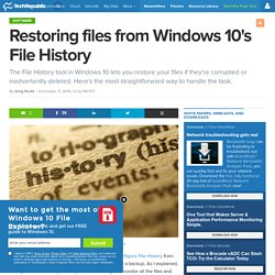 Restoring files from Windows 10's File History