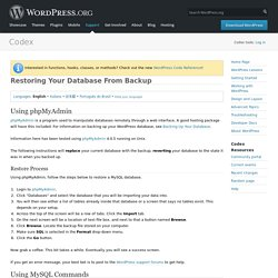 Restoring Your Database From Backup