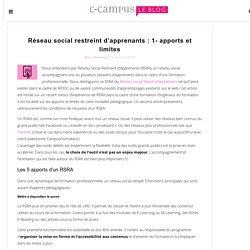 Réseau social restreint d'apprenants : 1- apports et limites