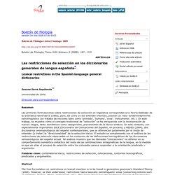 Boletín de filología - Las restricciones de selección en los diccionarios generales de lengua española