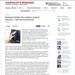 Key Academic Research Resources - Free & Restricted Journalist