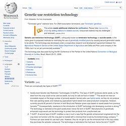 Genetic use restriction technology