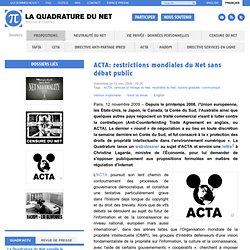 ACTA: restrictions mondiales du Net sans débat public