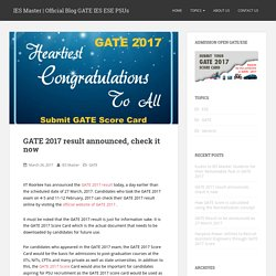 GATE 2017 result announced, check it now – IES Master