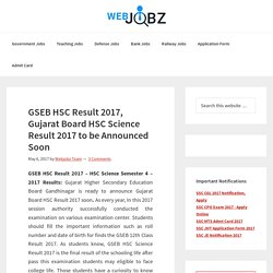 GSEB HSC Result 2017, GSHSEB Gujarat Board 12th Science Result Time