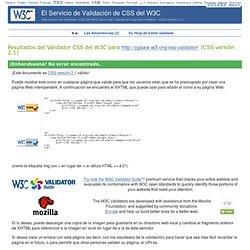 Resultados del Validador CSS del W3C para  (CSS versión 2.1)