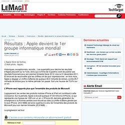 Résultats : Apple devient le Premier groupe informatique mondial