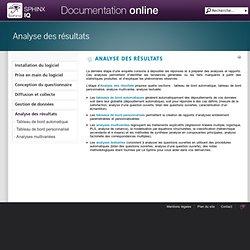 Analyse des résultats - Sphinx IQ : Documentation en ligne