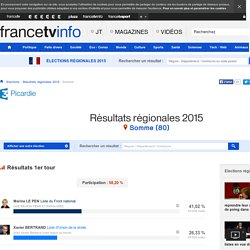 Somme (80) : Résultats des élections régionales 2015