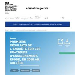 Premiers résultats de l'enquête sur les pratiques d'enseignement, EPODE, en 2018 au collège