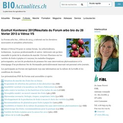 BIOACTUALITES_CH28/02/13Résultats du Forum arbo bio du 28 février 2013 à Vétroz VS
