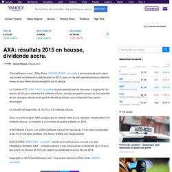 AXA: résultats 2015 en hausse, dividende accru.