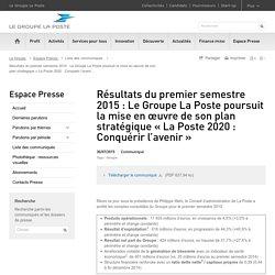 Résultats du premier semestre 2015 du Groupe La Poste
