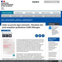 Aider un proche âgé à domicile - Résultats des post-enquêtes qualitatives CARE-Ménages / DREES, septembre 2020