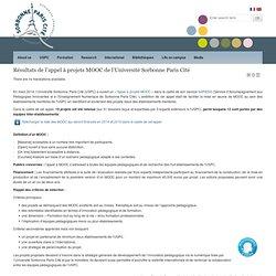 Résultats de l'appel à projets MOOC de l'Université Sorbonne Paris Cité