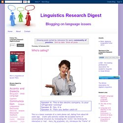 Linguistics Research Digest: Search results for community of practice