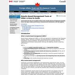 Results-Based Management Tools at CIDA: A How-to Guide - Foreign Affairs, Trade and Development Canada (DFATD)