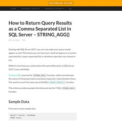 How to Return Query Results as a Comma Separated List in SQL Server – STRING_AGG()