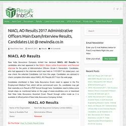NIACL AO Results
