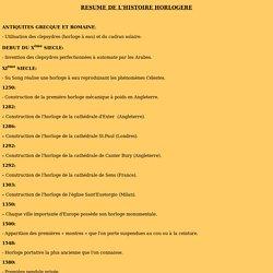 RESUME DE L'HISTOIRE HORLOGERE