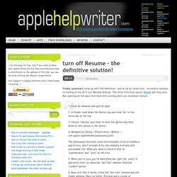 turn off Resume – the definitive solution! « Phil Stokes