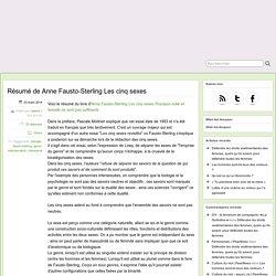 Résumé de Anne Fausto-Sterling Les cinq sexes
