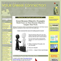 Resume Objective Examples - Top Notch Resume Objective Examples
