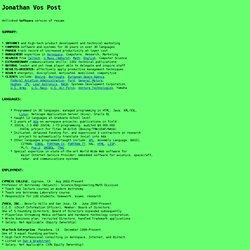 Resume of Jonathan Vos Post