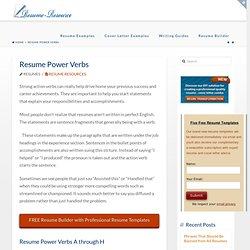 Resume Synonyms For Strong  Resume Power Verbs