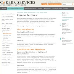 Resume Sections  Resume Sections