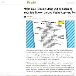 Make Your Resume Stand Out by Focusing Your Job Title on the Job You're Applying For