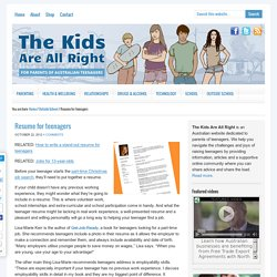 Resume for teenagers - The Kids Are All Right