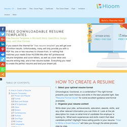 Free Resume Templates: 279 resume samples