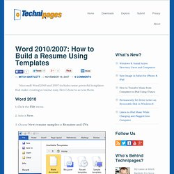 get resume templates microsoft word 2010