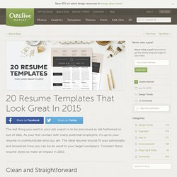 20 Resume Templates That Look Great In 2015